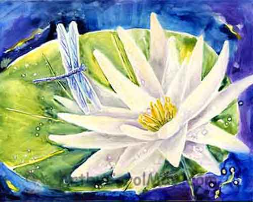 A dragonfly landing on a water lily for a watercolor painting by Carol May