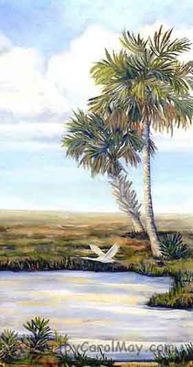 Lone Egret an oil painting of the Florida prairie area, painting artist Carol May
