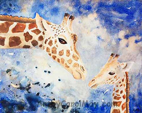 A lovely watercolor painting of a mother giraffe loving her baby giraffe by artist Carol May