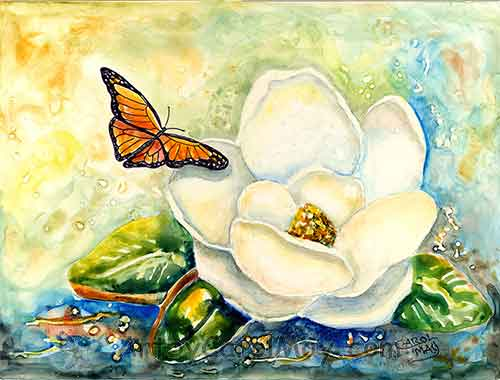 A butterfly checking out a Magnolia flower painting by Carol May