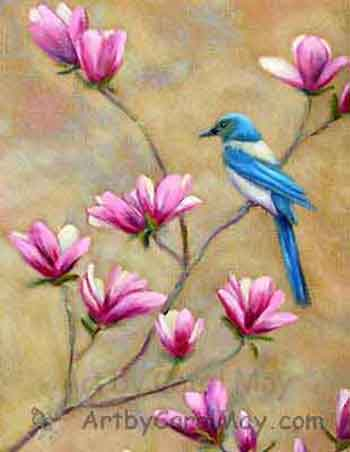 Scrub Jay on Tulip Magnolia flowers painted with oils by artist Carol May