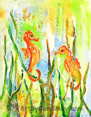 watercolor of Seahorses by painting artist Carol May