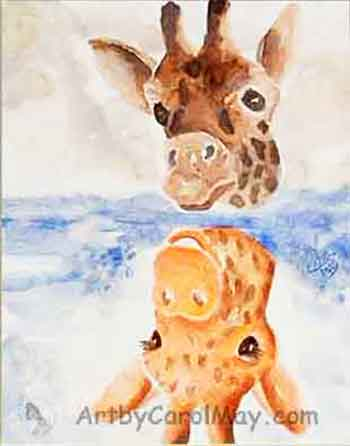 See Yourself as God sees you, giraffe seeing itself in the water reflection