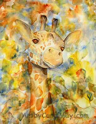 A watercolor painting of Spots the giraffe by Carol May