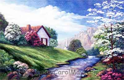 Springtime is a prophetic art landscape in oils by Carol May