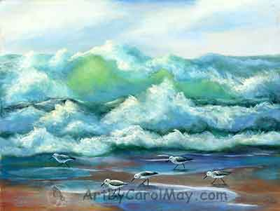 Surf Runners an oil seascape painting by artist Carol May