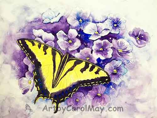 Paint the butterfly spots, edges and flower center.