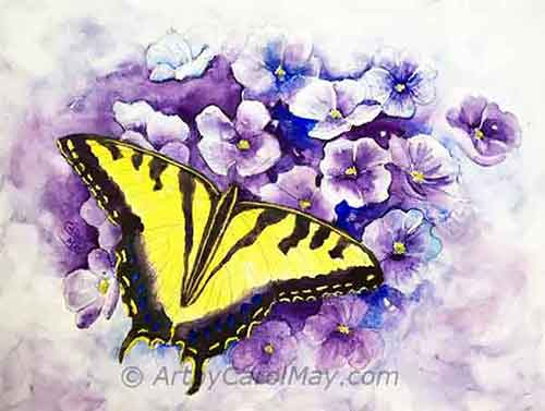 Take the stress out of painting. Artist Carol May will paint a butterfly step-by-step, so you can do it too.