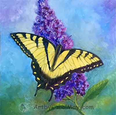 Tiger Swallowtail Butterfly on a Butterfly Bush, oil painting by Carol May