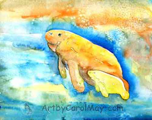 watercolor painting of two Florida manatees - Gentle Giants - by painting artist Carol May