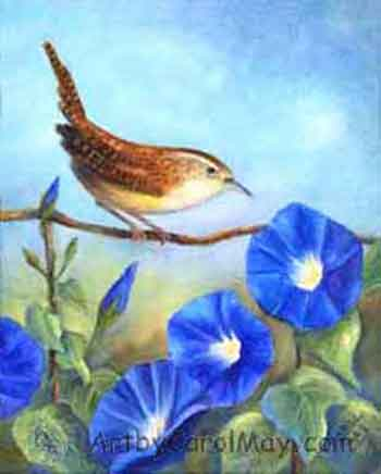 Wren and blue Morning Glory flowers, an oil painting by artist Carol May