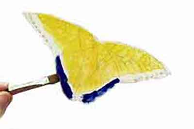 Step one of painting a  watercolor butterfly, under-paint the butterfly