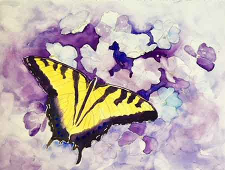 Add some darker values to the background of your butterfly painting for added interest.