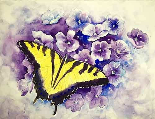You are almost finished painting your butterfly - Remove the masking fluid to expose the white areas