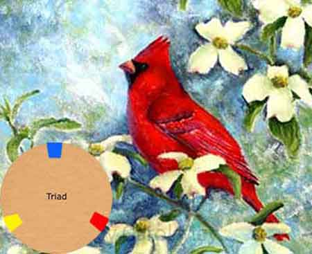 Using a triad of primary colors - art by Carol May