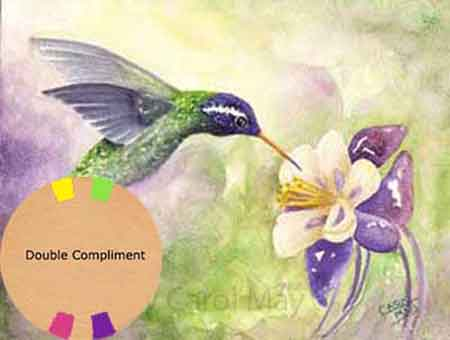 Using Double Complimentary Colors for a hummingbird painting by Carol May