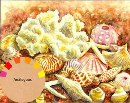 Sea Shells painted with analogous colors by artist Carol May