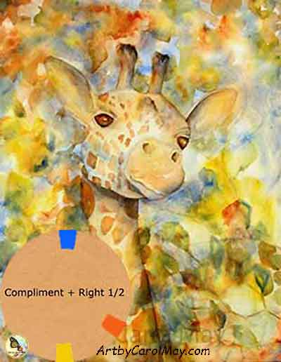 Tutorial on how I choose painting color schemes, Giraffe animal painting by artist Carol May