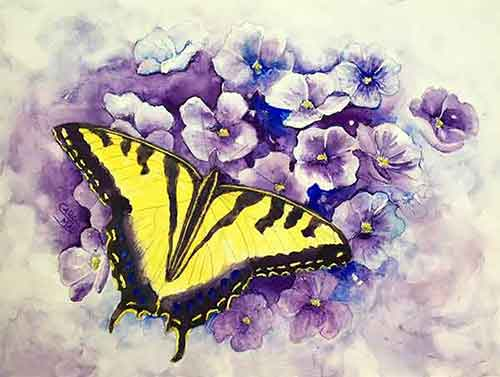 Tiger Swallowtail Butterfly watercolor by painting artist Carol May