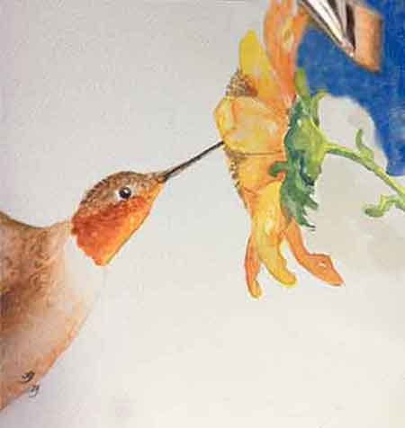 Paint the background of the hummingbird painting.