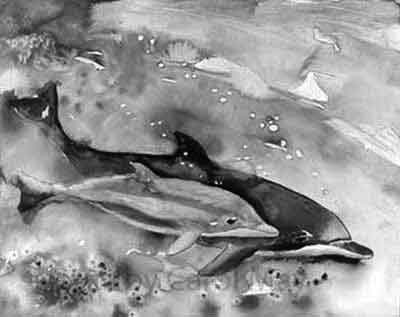gray-scale of Born Free dolphin painting by Carol May