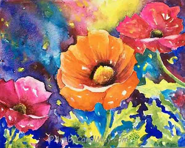 Watercolor flowers by artist Carol May