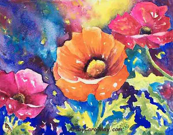Watercolor poppy flowers by artist Carol May
