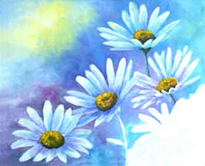 Paint the daisy buttons dark at the base and highlight with orange and yellow