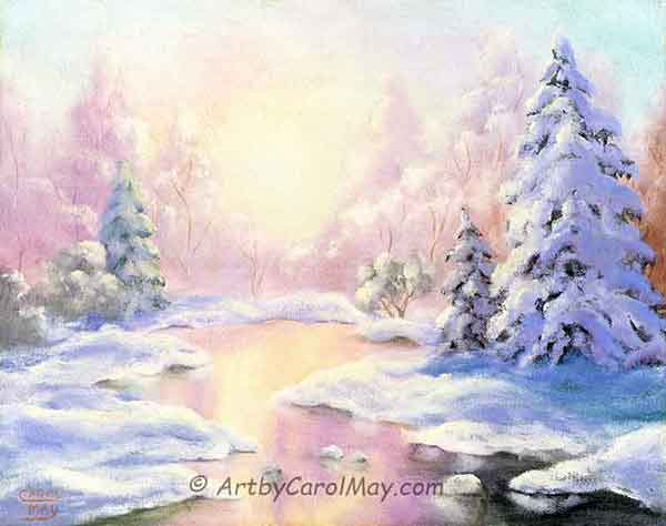 About Carol May the painting artist - It began with Bill Alexander - Bob Ross style mountains.