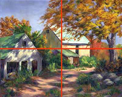 Avoid placing main elements of a painting on the center lines for good art composition.