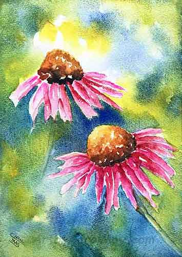 Echinacea an original watercolor painting of purple cone-flowers is for sale by the artist Carol May