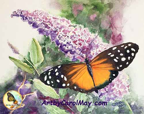 How to paint watercolor, Carol May demonstrates painting butterflies in a lovely butterfly painting.