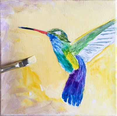 Finish painting the background around the hummingbird