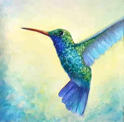 Make the final adjustments to your oil hummingbird painting