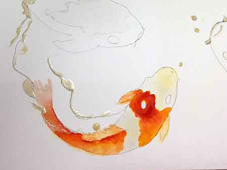 When painting the Koi I let the yellow and red flow together to make orange.