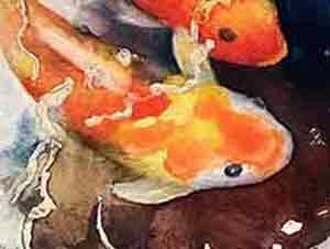 Painting watercolor Koi