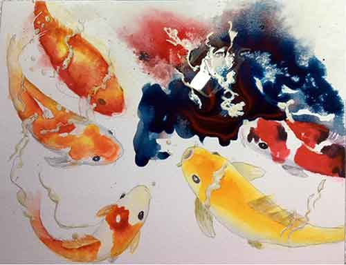 Pouring the watercolor paint on a Koi painting.