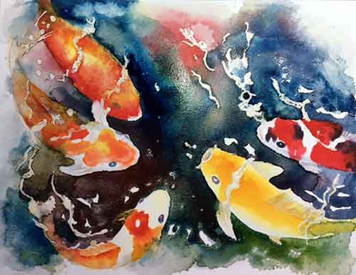 Pouring watercolor paints with koi fish.