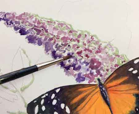 Painting the watercolor flower