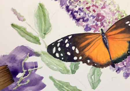 Paint the background around the butterfly