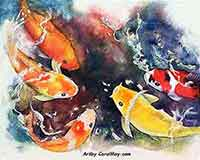 A watercolor painting of a Koi Challenge for sale by the artist Carol May