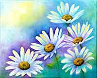 How to paint daisies with oil paints by Carol May