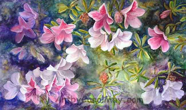 Azaleas a watercolor painting of flowers by Carol May