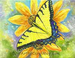 Tiger Swallowtail Butterfly on yellow daisies painted in oils by Carol May