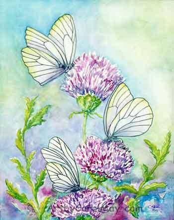 Black-veined-butterflies by artist Carol May