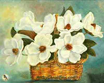 A Bloomin' Basket of Magnolia flowers painted with oils by artist Carol May