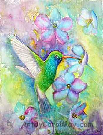 watercolor painting of a Broad-billed Hummingbird with Delphinium flowers by Carol May