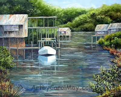 Stilt houses on a Cedar Key Canal, oil landscape painting by Carol May