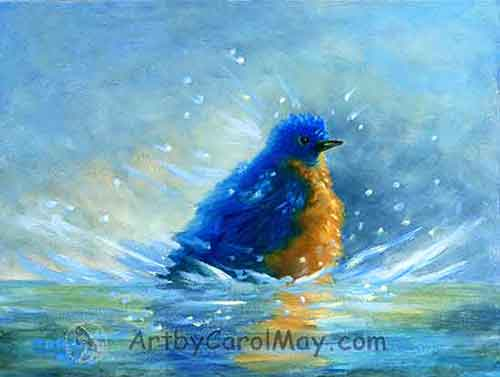 A bluebird Cleaning Up by artist Carol May
