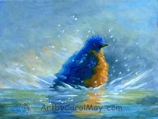 A Bluebird Cleaning Up, art by Carol May